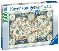 Ravensburger puslespel 1500b World Map of fantastic Beasts 1500 bitar - Ravensburger