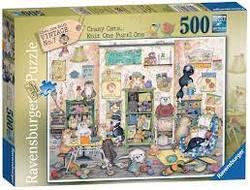 Ravensburger Puslespel 500b Crazy cats.. Knit One Purr One 500 bitar - Ravensburger