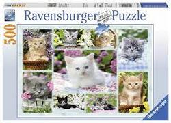 Ravensburger Puslespel 500b Kitten in a Basket 500 bitar - Ravensburger