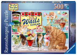 Ravensburger puslespel 500 Katter og iskrem 1000 bitar - Ravensburger
