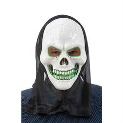 LED maske skjeletthode  Grøn led - Halloween